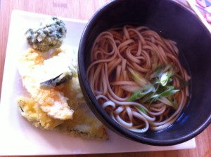 fresh and crunchy veg tempura in a light udon broth